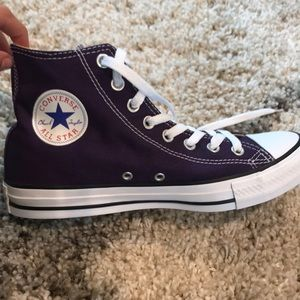 Dark purple high top converse